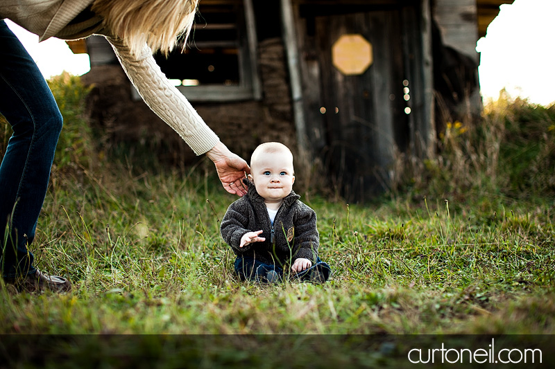Sault Ste Marie Baby Photographer - Charlie at six months - year one, Mockingbird Hill farm, fall