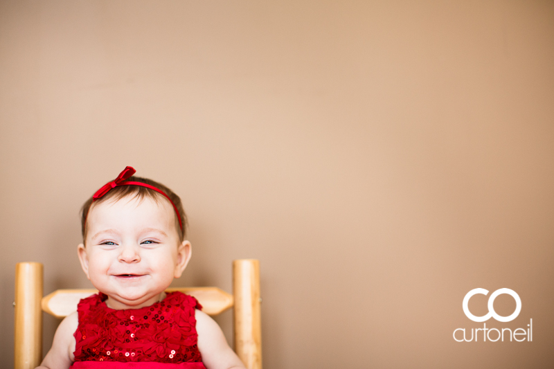 Sault Ste Marie Baby Photographer - Gabby at 7 Months - sneak peek in a red dress