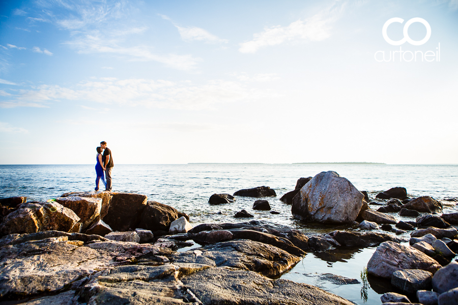 Sault Ste Marie Engagement Session - Alyse and Mike - sneak peek, on the shore of Katherine Cove in Lake Superior Provincial Park on a great summer evening