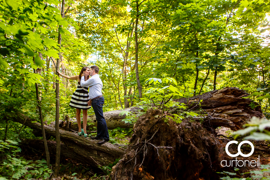 Sault Ste Marie Engagement Photography - Ashley and Matt - sneak peek, summer, fallen tree, forest