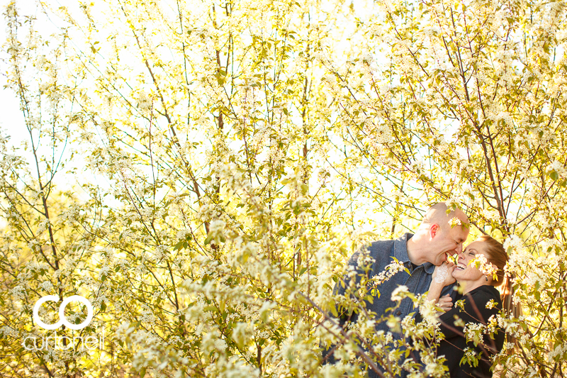 Sault Ste Marie Engagement Photography - Crystal and Matt - Pointe Des Chenes, blossoming trees, windy