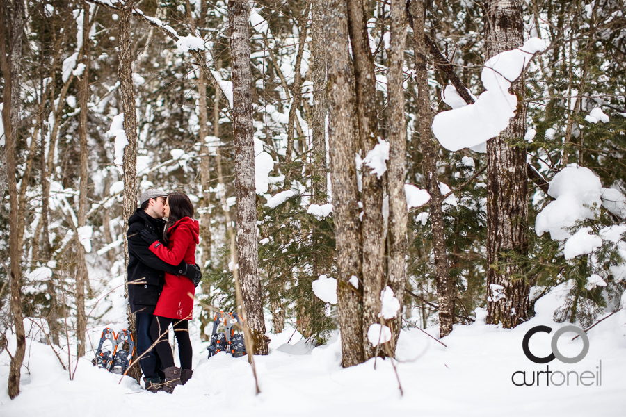 Sault Ste Marie Engagement Photography - Dana and Mike - sneak peek, snowshoe, Searchmont, winter, cold