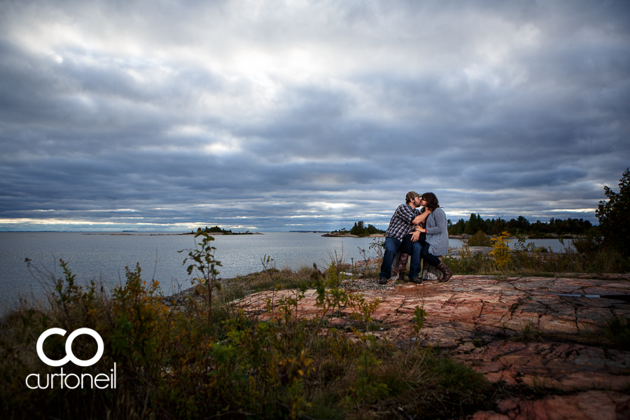 Sault Ste Marie Engagement Photography - Jessica and Brad - sneak peek, Thessalon, camp, storm clouds, Lake Huron