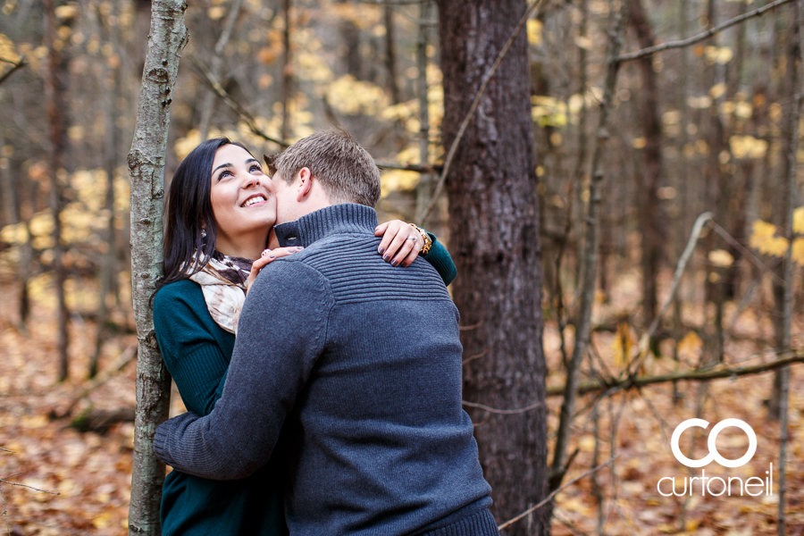Sault Ste Marie Engagement Photography - Jess and Trav - fall, Hiawatha Highlands, trees, cold