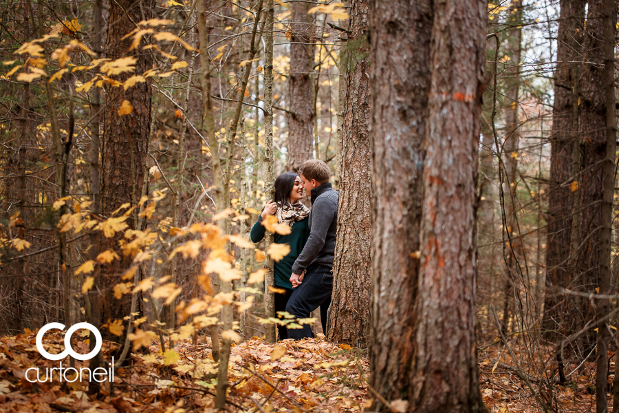 Sault Ste Marie Engagement Photography - Jess and Trav - Hiawatha Highlands, fall, cold, leaves, trees