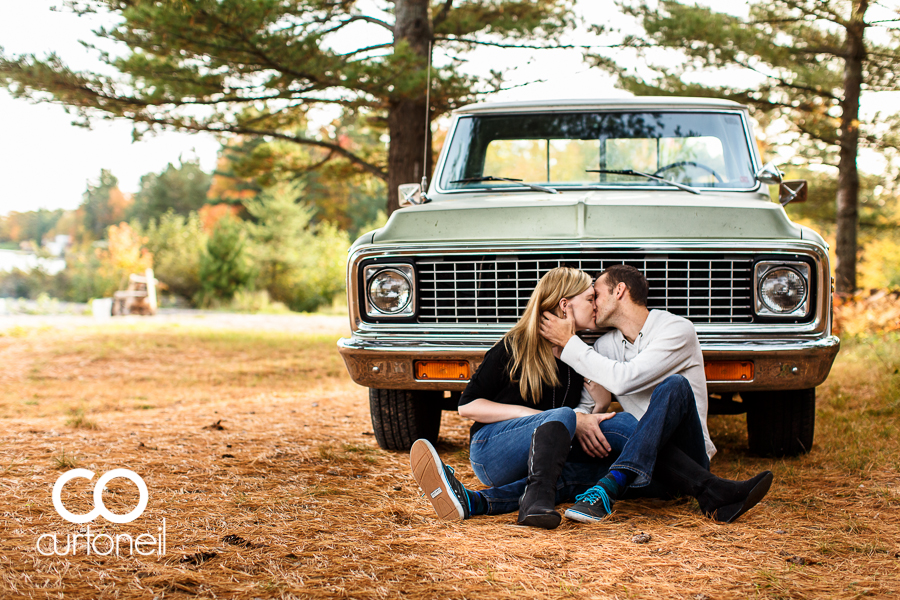 Sault Ste Marie Engagement Photography - Katie and Robbie - sneak peek, fall, Chevy truck, old truck