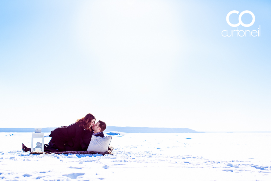 Sault Ste Marie Engagement Photography - Kelly and Shawn - sneak peek, frozen Lake Superior, winter, picnic