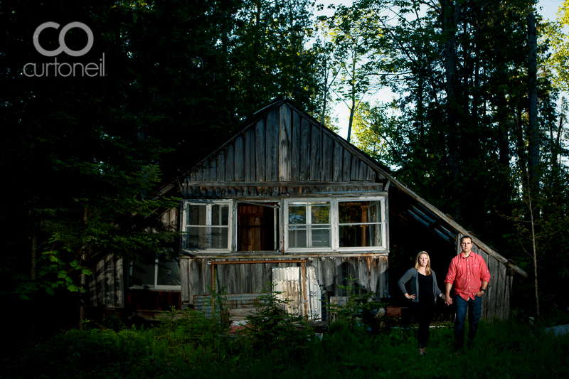 Sault Ste Marie Engagement Photography - Kylie and Brian - sneak peek on St. Joseph Island, creepy cabin