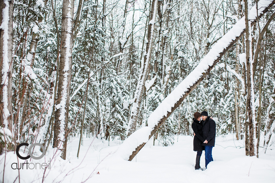Sault Ste Marie Engagement Photography - Lindsay and Emilio - sneak peek, Fort Creek, winter, snow, trees