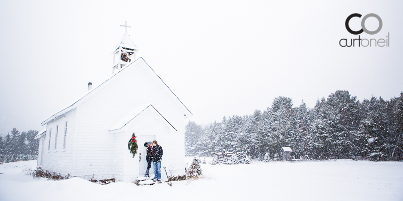 Sault Ste Marie Engagement Photography - Lindsey and John - Mockingbird Hill Farm, snow storm, winter