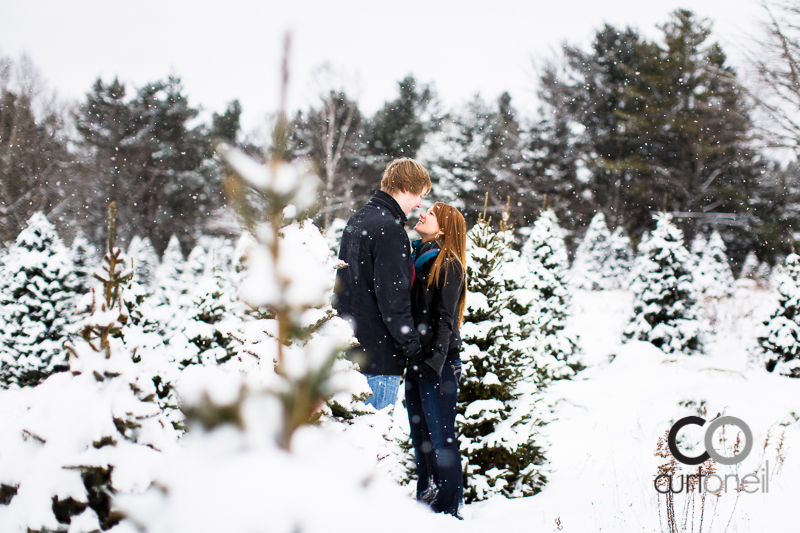 Sault Ste Marie Engagement Photography - Lindsey and John - winter, snow, Mockingbird Hill Farm