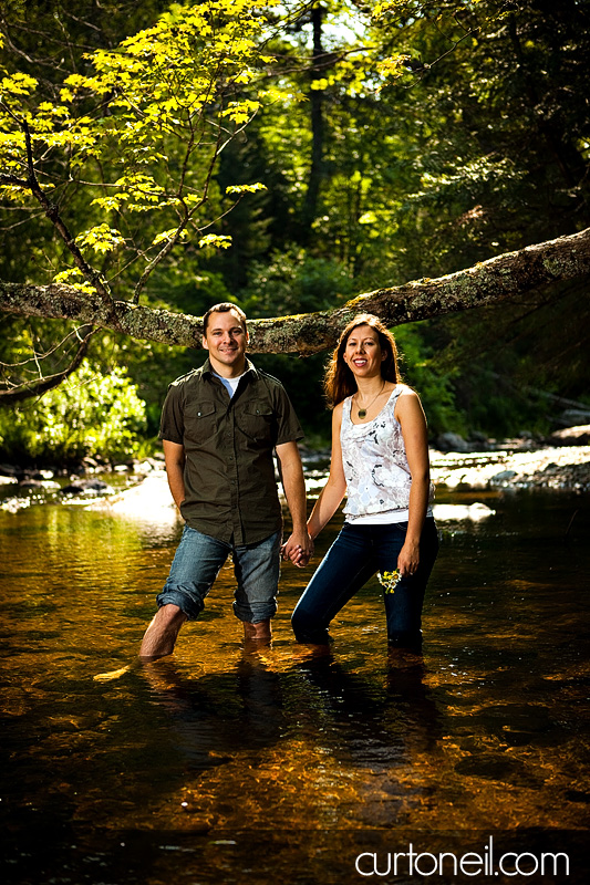 Sault Ste Marie Engagement Shoot - Mel and Jim in the water at Wishart Park - Sneak peek