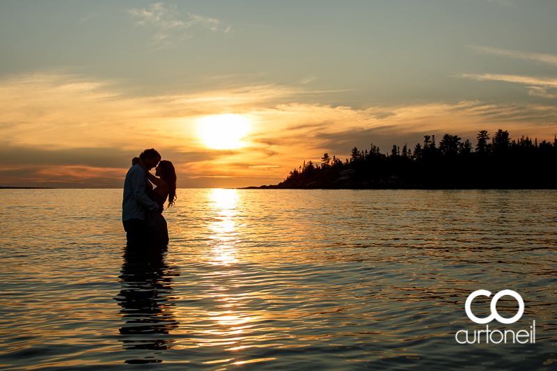 Sault Ste Marie Engagement Photography - Nicole and Johnny - Bathtub Island, Lake Superior, Katherine Cove, sunset, sand, beach, trees