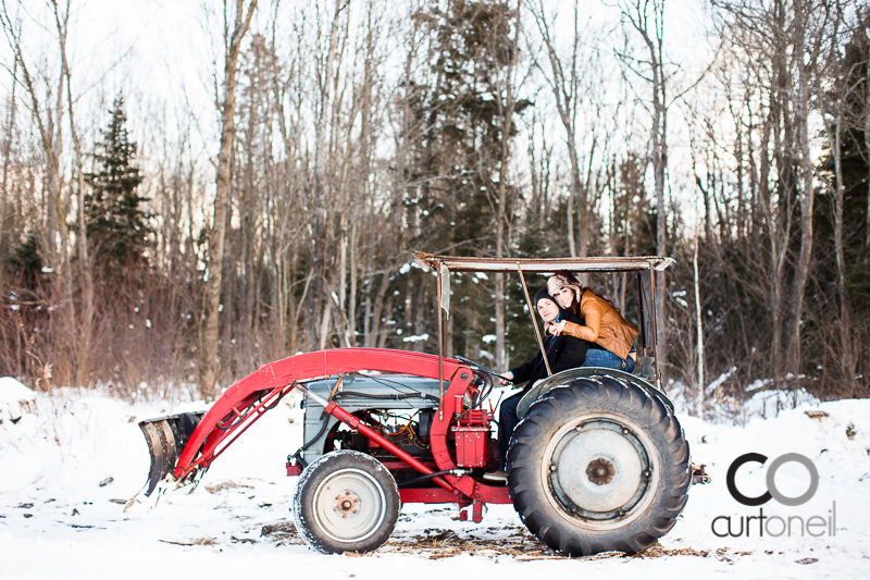 Sault Ste Marie Engagement Photography - Nicole and Josh - winter, cold, old tractor