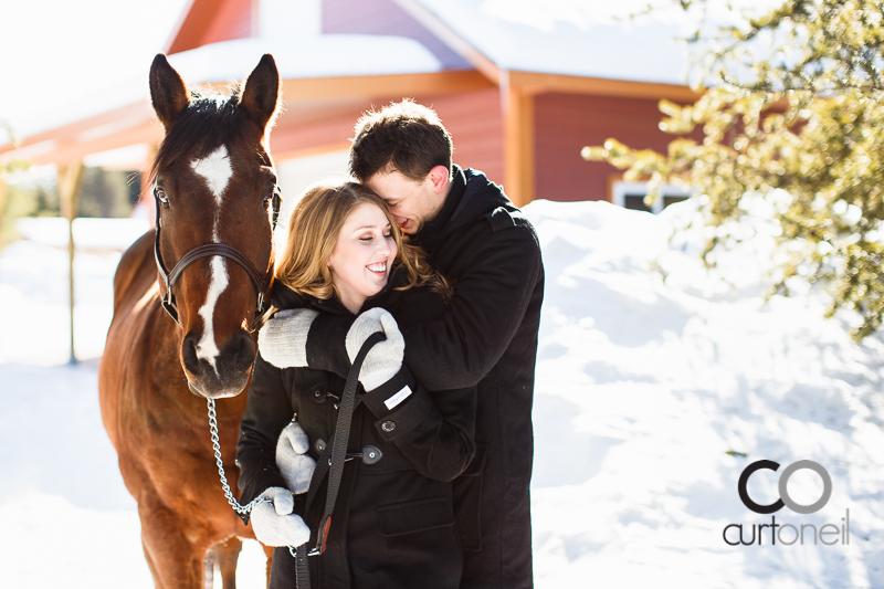 Sault Ste Marie Engagement Photography - Rachel and Adam - winter sneak peek with Rachel's horse George
