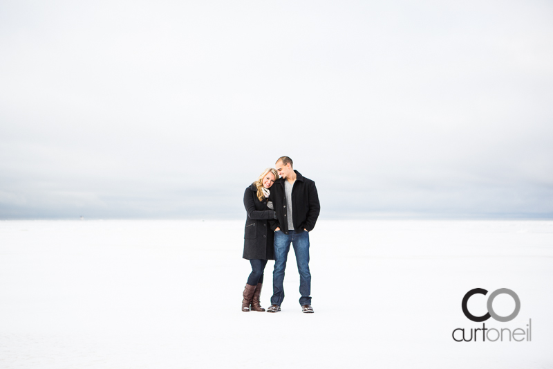Sault Ste Marie Engagement Photography - Rachel and James - frozen Lake Superior sneak peek
