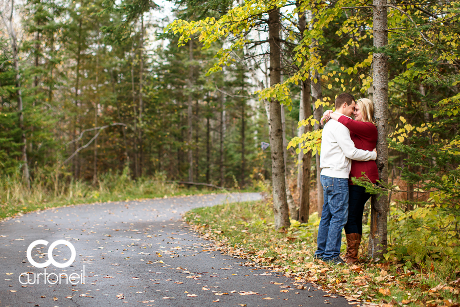 Sault Ste Marie Engagement Photography - Sarah and Marc - Fort Creek, hub trail, fall, boxer, leaves