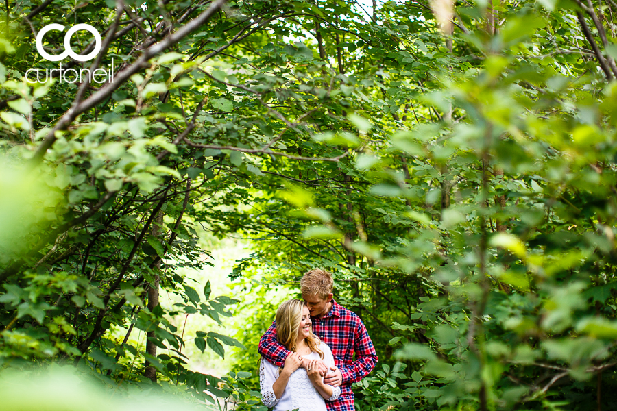 Sault Ste Marie Engagement Session - Shana and Sean - sneak peek, Wishart Park, trees, summer