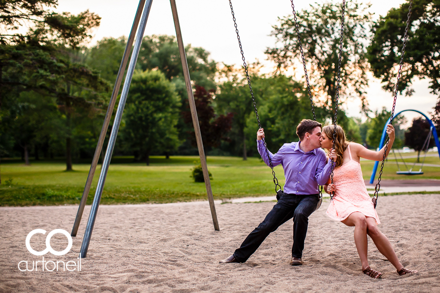 Sault Ste Marie Engagement Photography - Tara and Ben - sneak peek, Bellevue Park on the swings, summer