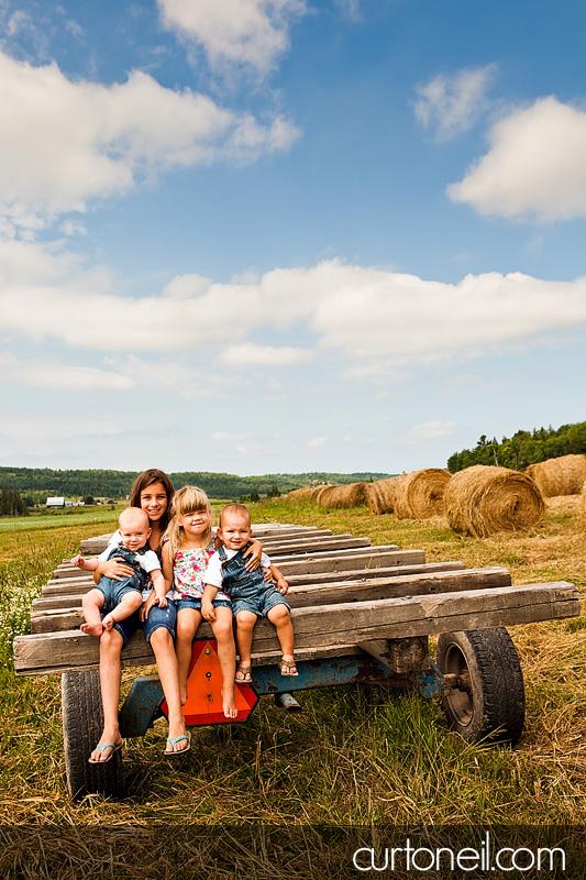 Sault Ste Marie Family Photography - Jarrett Grandkids - Sneak peek on a farm; Echo Bay, McCarrel Lake
