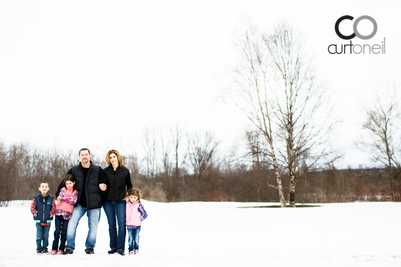 Sault Ste Marie Family Photography - Primeau Family - Sneak peek, cold, winter, wind, Whitefish Island