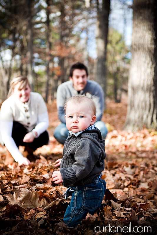 Sault Ste Marie Family Photographer - Strachan Family - Ryder in the leaves at Hiawatha