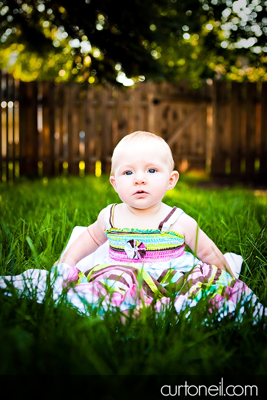Infant Photography - Isabelle six months old in the grass