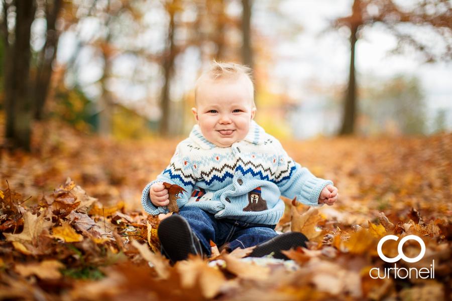 Sault Ste Marie Kid Photography - Samuel at 8 months - fall, leaves, outdoors, sneak peek