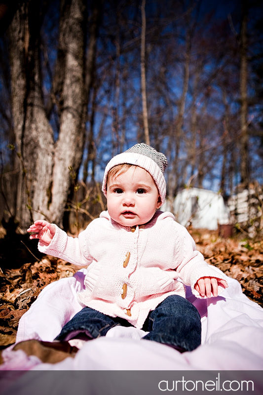 Macy six month baby shoot - in the leaves