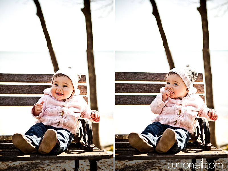 Macy six month baby shoot - on a bench