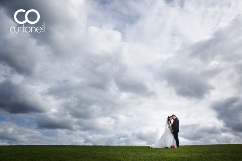 Sault Ste Marie Wedding Photography - Amanda and Allan - sneak peek, Bellevue Park, clouds, hill, summer