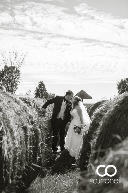 Sault Ste Marie Wedding Photography - Amanda and Denis - farm, summer wedding, hay bales