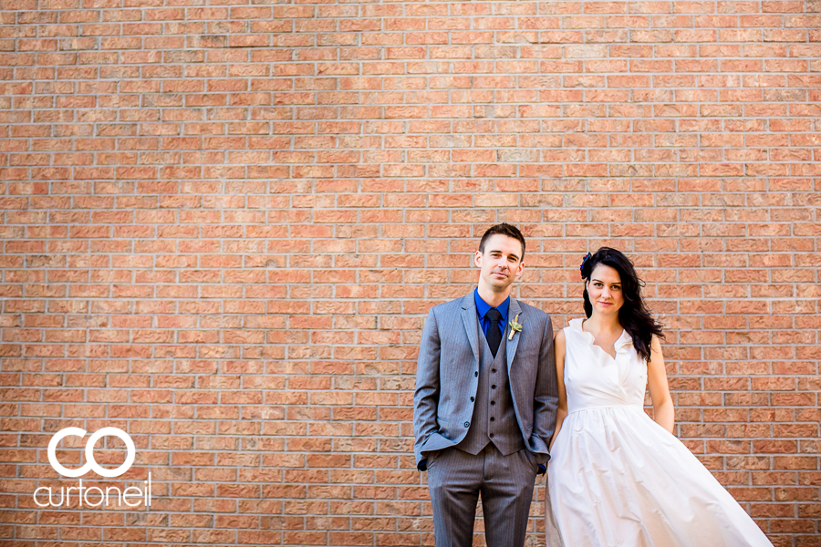 Sault Ste Marie Wedding Photography - Christine and Gabe - Water Tower Inn, small wedding, brick wall