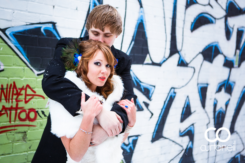 Sault Ste Marie Wedding Photography - Lindsey and John - winter, cold, graffiti, alley