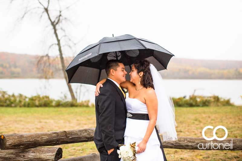 Sault Ste Marie Wedding Photography - Veronica and Gus - Garden River, Water Tower Inn, fall, cold, rain