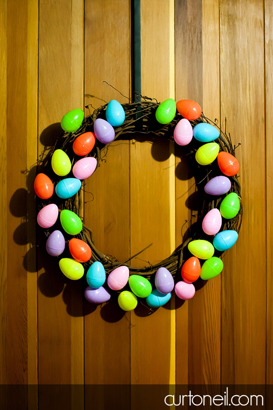 Easter Wreath made with wooden wreath adn plastic easter eggs