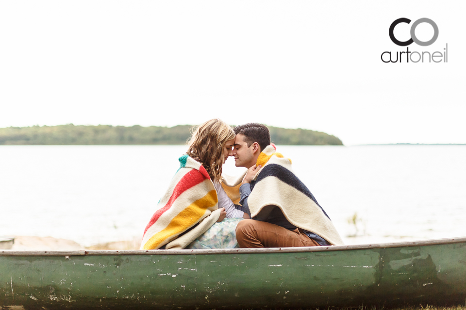 Jenna and Matthew - Sault Engagement - Canoe, blanket, camp